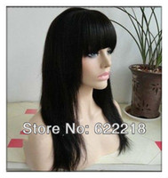 Wholesale Super Unique hair long wigs with bangs natural black cheap indian human remi hair full lace wig or lace wig
