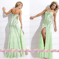 Cheap Luxury Strapless Sheath Chiffon Beads Sequin Side Split Formal Pageant Dress For Teen Prom Gown 2014