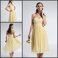 Cheap In Stock-2014 Free Shipping Sweetheart Pleates A-Line Tea-Length Backless Lovely Yellow Chiffon Bridesmaid Prom Party Dresses DH567