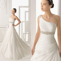 Wholesale Elegant A line Bridal One Shoulder Gown Organza Beading Court Train Chinese Wedding Dress DL1300474