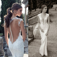 Wholesale New Berta Bridal Lace Wedding Dresses With Deep V Neck Sheer Illusion Back Covered Button Sheath Sweep Train Hot Custom Bridal Gowns