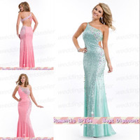 Cheap Exquisite One Shoulder Mermaid Sequin Beads Crystal Bandage Backless Floor Length Formal Evening Gown Pageant Dress For Teen