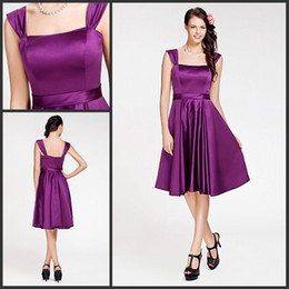 Wholesale In Stock Best Sale Off Shoulder Square A Line Knee Length Backless Actual Image Stretch Satin Bridesmaid Prom Party Dresses DH569