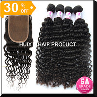 European Hair Deep Wave Huixin Hair Company 6A Grade 100% virgin Brazilian hair weft deep wave 3 bundles hair and 1 silk base closure A