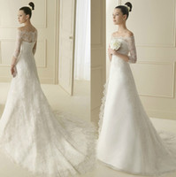 Wholesale 2014 New Wedding Dress Off Shoulder Sheer Lace Sleeves Wedding Gown A line Satin Detachable Lace Chapel Train Bridal Ball Gown W14175