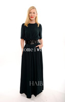 Wholesale 2014 Critics Choice Awards Cate Blanchett crew neck half sleeve belt column sheath formal occasion evening party dresses Red Carpet dresses
