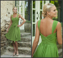 Wholesale Custom Made off Simple Short Bridesmaid Dresses Sweetheart Lime Green Chiffon Cheap Prom Dresses