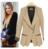 Wholesale New Style Spring Autumn Women Fashion Leopard Long Sleeve Suit Jacket Ladies Sexy Deep V Neck Big Lapel Jacket Girls Zipper Small Suit
