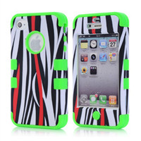 Wholesale 6 Colors Stripe Pattern Mobile Phone Back Cases For iphone S iphone4 iphone4S Shock Proof Waterproof Hybrid PC With Silicone Bumper Case