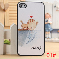For Apple iPhone PU leather + rubber For Christmas 1pcs Eiffel Tower Beard cartoon cat kiss fish girl boy color Drawing special Paint Black side PU leather hard case cover for iPhone 5 5S 5G