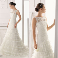 Wholesale Elegant A line Bridal Sleeveless Layered Gown Sweep Train Chinese Lace Wedding Dress DL1300488