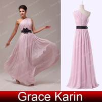 New One Shoulder Chiffon Prom Dresses Empire A- Line Floor Le...