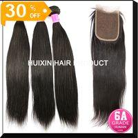 Wholesale virgin Brazilian human hair weft straight bundles hair and silk base closure A