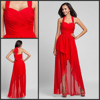 Cheap In Stock-2014 Best Free Shipping Halter A-Line With Pleates Hi-Lo Backless Actual Image Red Chiffon Bridesmaid Prom Party Dresses DH570