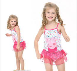 Wholesale 2014 Summer New Kids Swimwear Hot Popular Cartoon Peppa Pig Cotton Baby Girl Gallus Dress Swimwear Children Beach Wear Clothes QZ569