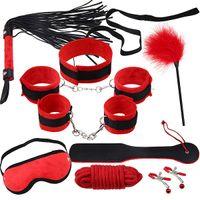 Cheap 1set Red Fetish Bondage Restraint Beginner Complete Gear Cuffs Shackles Sex Toy Set 9pc J1951
