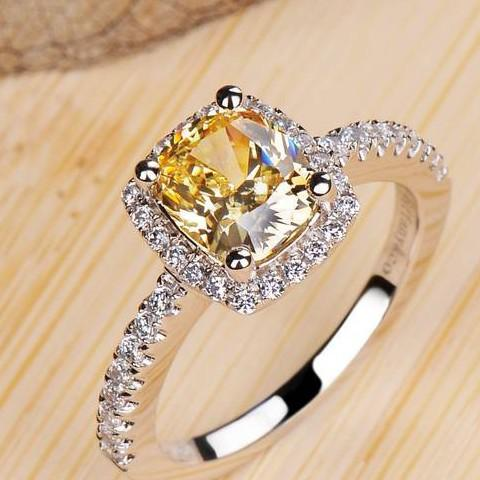 2017 top color yellow diamond ring pillow shaped european and american high simulation diamond wedding ring sterling silver rings women from zhuzhixuanyi - Yellow Diamond Wedding Rings