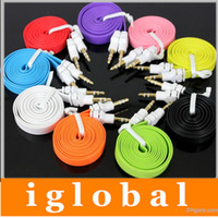 Wholesale Colorful MM Audio Cable Flat Aux Car Audio Cable for Mobile Phones for MP3 MP4 for Tablet PC