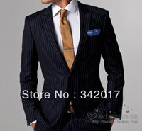 Wholesale top Italian imported fabrics Male suit customize suit blue wide stripe wedding groom wear dress man tuxedos AABB