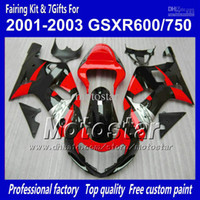 Wholesale 7Gifts Cowl Body work fairings for SUZUKI GSXR K1 GSXR600 GSXR750 glossy black red fairing kits S770