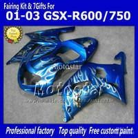 Precio de Suzuki gsxr750 fairing-Carenados 7Gifts + Cowl motocicleta para SUZUKI GSXR con 600 750 K1 2001 2002 2003 GSXR600 GSXR750 01 02 03 llama ff69 carenado azul abs