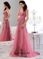 Cheap Arabic Hot Evening Dresses Sexy Sequin Long Sleeve 2014 Tulle Sleeveless Water Melon Jajja Couture Crystal Cheap Ball Gowns Pageant Backless