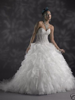 Wholesale 2014 New Wedding Dress Beaded Lace Corset Wedding Gown Chapel Train Cascading Ruffles Lace Up Back White Organza Bridal Ball Gown R14194