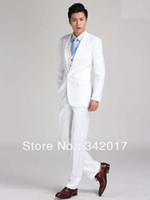 Cheap Free shipping custom made top selling cheap white new style groomsmen wedding groom wear tuxedos bridegroom dress men's suits
