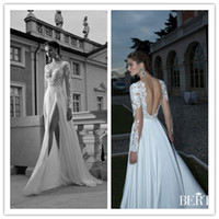 Cheap Berta 2014 Plunging V-Neck See Through Tulle Long Illusion Sleeve White Lace Backless Beach Wedding Dresses for Bridal with High Side Slit