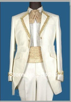 Cheap 2014 2014 Custom-Made Real Sample White with Gold Line Groom Tuxedos Suits For Wedding Evening Formal Men Suit