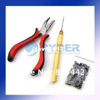Wholesale DIY Feather Hair Extension Kit Tool With Pliers wooden handle Hook Micro Beads
