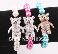 Trendy baby adjustment - Honesty Rhinestone Crystal Sideways Koala Bear Baby Bracelet Adjustment Stretchy Strand Bracelets for Children ZB79