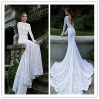 Cheap Berta Winter 2014 Vintage Mermaid Bateau Neckline Long Illusion Sleeve White Lace Backless Garden Wedding Dresses for Bridal with Ribbon