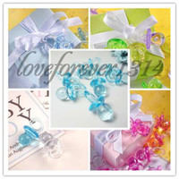 100PCS baby shower favors unique - 100pcs Aqua Blue High Quanlity Acrylic Mini Baby Pacifier Unique Baby Shower Favors Cute Charm Decorations Supplies