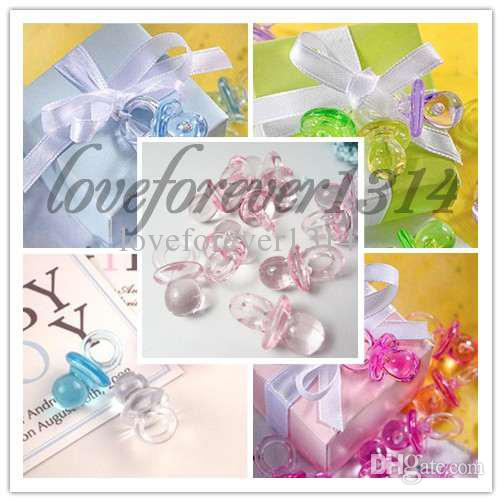 Wedding Favor Boxes Under 50 Cents : Pink high quanlity acrylic mini baby pacifier shower