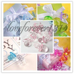 Wholesale 100pcs Pink High Quanlity Acrylic Mini Baby Pacifier Baby Shower Party Favours Cute Charms Decorations Supplies