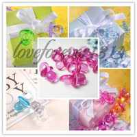 Wholesale 100pcs Fuchsia High Quanlity Acrylic Mini Baby Pacifier Baby Shower Party Favors Cute Charms Decorations Supplies