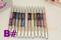 Wholesale Brand High quality Double Color Eye Shadow eyeliner lip Liner Pen lipliner pencil Waterproof eyes makeup B