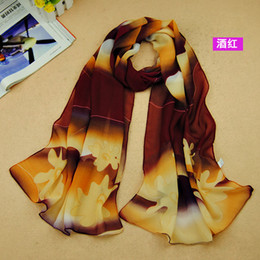 Wholesale Hot On Amazon New Lady s Scarf Dream Flower Pattern Gradient Chiffon Scarves For Women Xmas Gift Colors