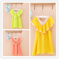 Wholesale 5 color girls dresses Summer Girls Chiffon Dress With Shawl collar dress For Kids Baby