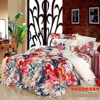 Wholesale Luxury floral wedding comforter bedding set queen king size comforters sets bedspread duvet cover quilt bed linen sheet painting