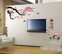 bedroom design paint - Chinese Painting Wall Sticker Plum Blossom and Lotus Traditional Chinese Painting Wall Decal Living Room Wall Decor