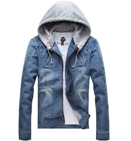 Images of Mens Denim Hooded Jacket - Reikian