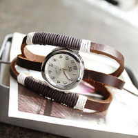 Wholesale dropship hot sale Russia ring Handmade rope antique Cow Leather watches vintage ladies