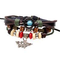 Cheap small wooden bead hamsa han noosa chunk charm leather hipanema women men wrap infinity punk butterfly bangles bracelets