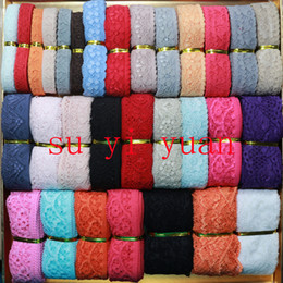 Wholesale Apparel accessories yards mix color and style wholsale Elastic Stretch Lace trim sewing headband Garment accessories