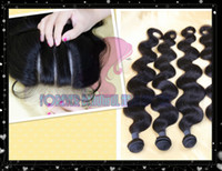 "Cheap UPS Fast Free Shipping 5A Brazilian Human Hair Weft Mix 3 Bundles And 1pcs Top Lace Closure(4""x4"")Body Wave Hair Extension Natural Color"