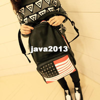 Wholesale National flag bag fashion PU UK USA student school bag rivet backpack women s handbag preppy style