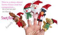 Unisex 0-12 Months Gray 5set lot wholsale Cute Christmas finger puppets baby plush toys Educational Story-telling Toy For Children (5pcs set )