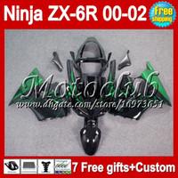 Wholesale 7gifts Free Customized green black For KAWASAKI NINJA ZX6R MC7231 ZX R ZX R R green flames ZX636 ZX Fairing
